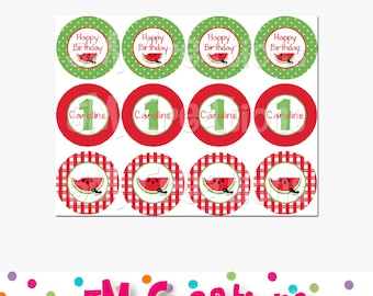 Watermelon Cupcake Toppers - Choose pink or red - Watermelon Birthday Party- Picnic Cupcake Toppers - polka dots - Watermelon Decorations
