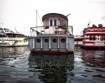 House Boats, digital photo, Seattle, Washington, ocean city, wall art, home decor, water, office art, ocean photo, house boats, ships, water