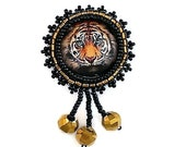 Gold and Black Tiger Pin Brooch with Dangles