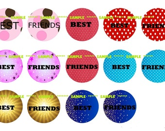 BEST FRIENDS Digital Collage Sheet 1 inch Circles 4x6 (A7)