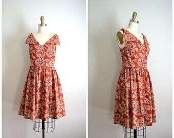 handmade SPANO LANG  rust brown floral shirtwaist dress // small medium