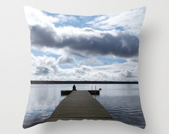 Lake House Decorative Pillow Cover, Cottage Chic Accent Cushion, Aluminium Grey, Placid Blue, Rustic Beach Cabin Decor, Chalet, Home Staging