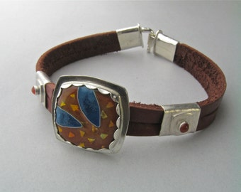 Orange and Blue Enamel in Silver on Leather Bracelet