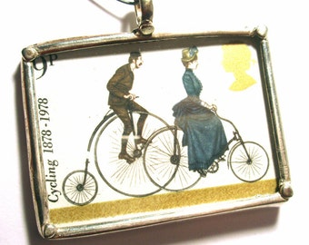 London Cycling Stamp Preserved in Glass Pendant Sterling Silver 925 Ready for Stringing or Making into Jewelry - AWESOME