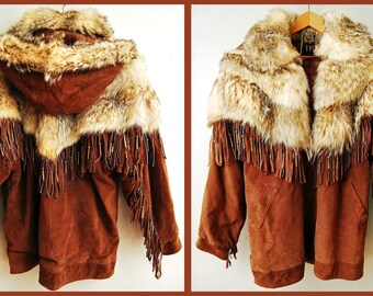 """Stunning Vintage """"Giorgio Collection"""" Leather Coat With Badger Fur and Fringe"""