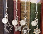 Aunt Bookmark Dictionary Glass Gem Personalized Heart Charm by Kristin Victoria Designs