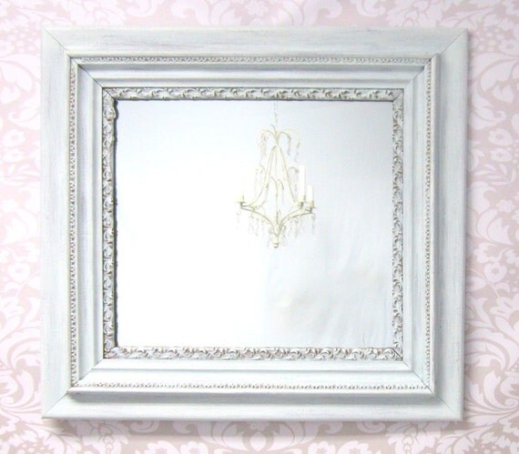 French country mirrors for sale shabby chic by revivedvintage for White framed decorative mirror