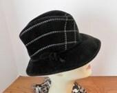 Vintage BLack Fedora- Chapeau Creations Black and White Fedora- Black Felt Hat