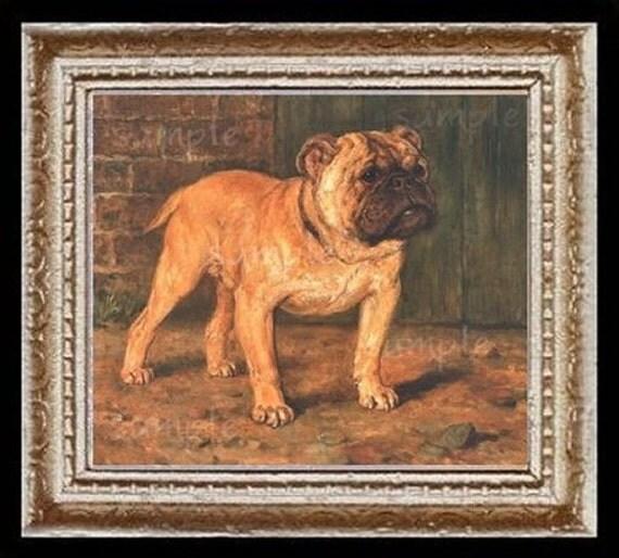 Bulldog Dog Miniature Dollhouse Art Picture 6702