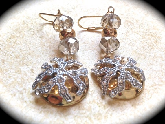 Vintage dangle earrings-Rhinestone Earrings- Beach wedding earrings -Handmade Jewelry-Statement Earrings- Drop Earrings- Starfish earrings