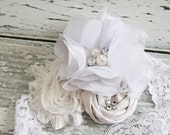 Glory-  shimmery and sparkley rosette flower and chiffon headband