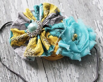 Briley- yellow and aqua ruffle and rosette headband