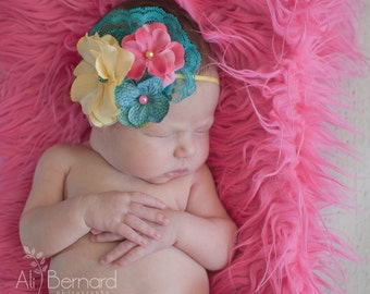 Summer Breeze- pink, teal and yellow flower headband with lace