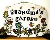 Personalized Garden Plaque - DEPOSIT - HandMade TO ORDER Custom Whimsical Flower Indoor, Outdoor Wall Hanging Sign - Gardening, Gardner Gift