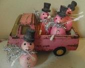 Set of Four Vintage Pink Christmas Spun Cotton Snowmen - Hand Dyed - Set B