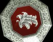 Burgundy Frond Decoupage Plate