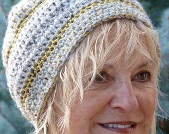 slouchy hat crochet women's gray gold winter hat bohemian hat women's fashion