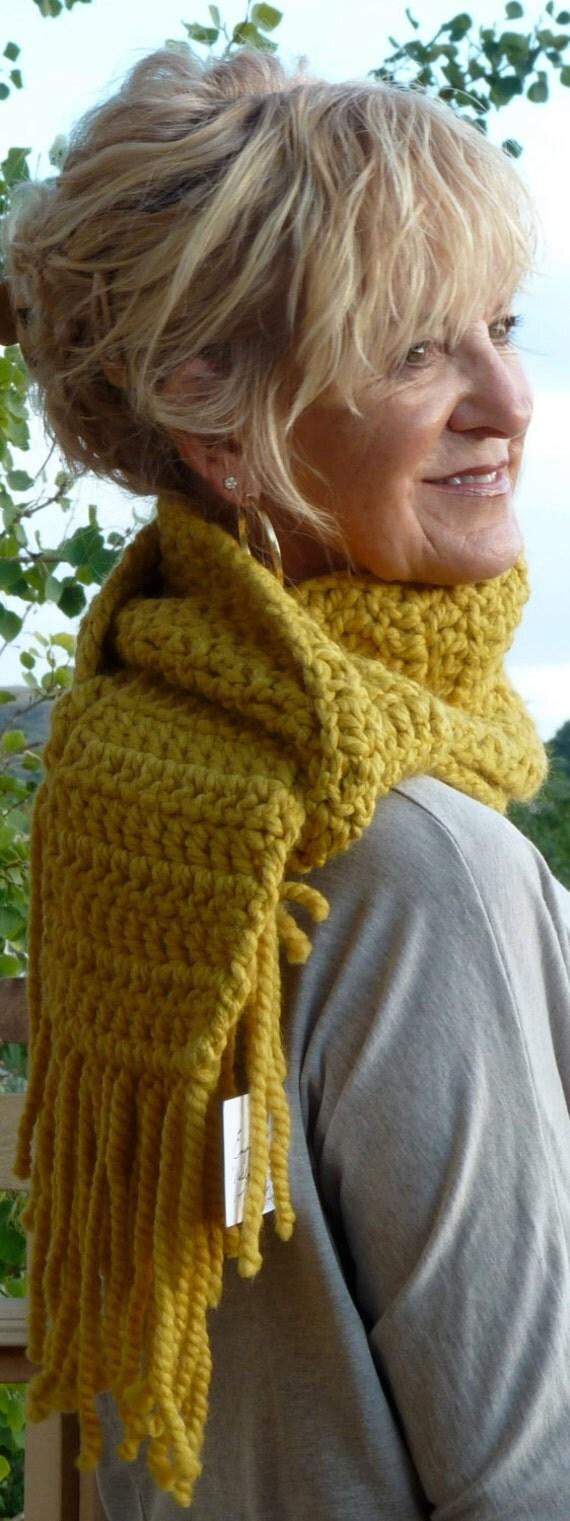 Yellow Crochet Scarf Mustard Original