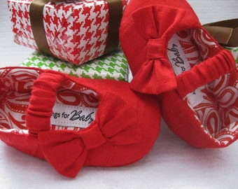 Girls red shoes red baby shoes Dupioni Silk shoes for girls red Christmas toddler shoes  holiday shoes - Shannon