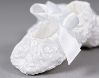 Baby shoes white flower girl toddler girls shoes white baptism shoes baby girl christening shoes - Rosie