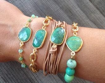 Chrysoprase stone bracelet with chrysoprase stone chain band - BG02