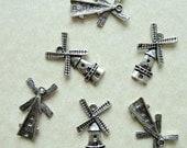Destash (6) Windmill Charms - detailed and cute - for pendants, jewelry making, crafts, scrapbooking