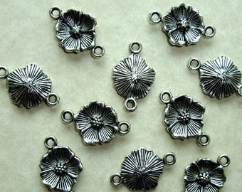 Destash (10) Flower Connector Charms - for pendants, jewelry making, crafts, scrapbooking