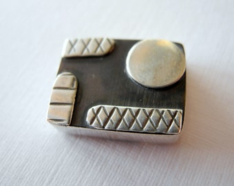 Rectangle Sterling Silver Bead Focal Geometric Oxidized Silver 17mm 13mm