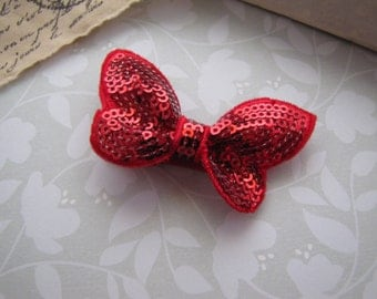Red Sequin Butterfly . boutique clippie . girls hair accessory