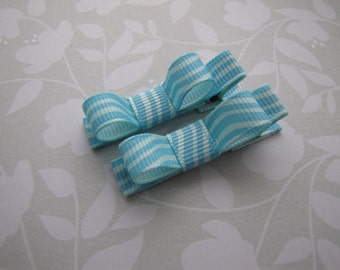 Waves . tuxedo bow clippies . toddler hair accessory . aqua blue
