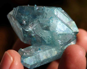 Aqua Aura Blue Quartz Double Terminated Crystal Cluster