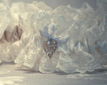 Lace Wedding garter, ivory silk and Nottingham lace bridal garter with tiny softest blue bow and vintage style Swarovski crystal heart