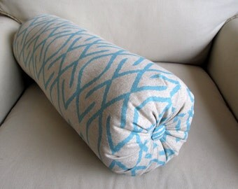 ZOE AQUA on natural linen color background Single bolster pillow --7x22--