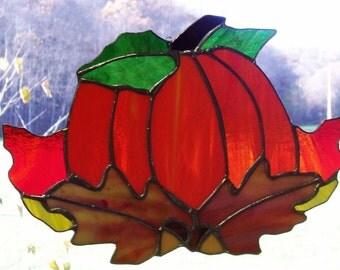 Harvest Pumpkin Stained Glass Sun Catcher