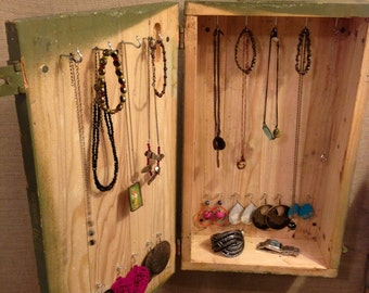 Upcycled Jewelry Holder Organizing Display (Green Ammo Cabinet)