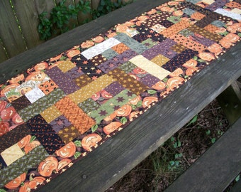 Halloween Table Runner October Glow Fall Autumn Quilted Thimbleberries Quiltsy Handmade FREE U.S. Shipping