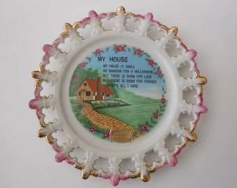 "Vintage collector porcelain plate, saying ""My House"",  Knott's Berry Farm sticker, 8 inch"
