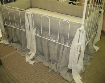 Washed Oatmeal and Cream Linen Farm House Crib Bedding
