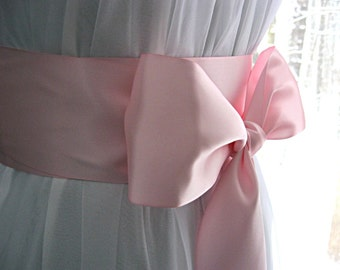 Pink / Light pink wedding sash, bridal sash, bridesmaid sash, bridal belt, dress sash, gown sash, 3 inch satin