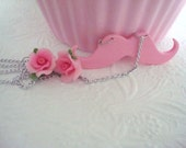 Pink Rose Flower Moustache Necklace