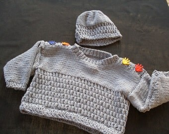 Hand knit boy or girl's stonewash blue denim pullover and hat