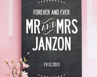 Personalized Wedding, name and date, design. A3 luxury poster print.