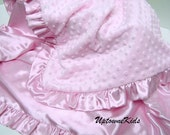 Minky and satin Blanket Baby Toddler Child Sizes satin ruffle or band