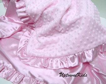 Minky and satin Blanket Personalized Monogram Baby Toddler Child Sizes satin ruffle or band