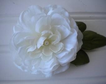 White Rose Ponytail Holder