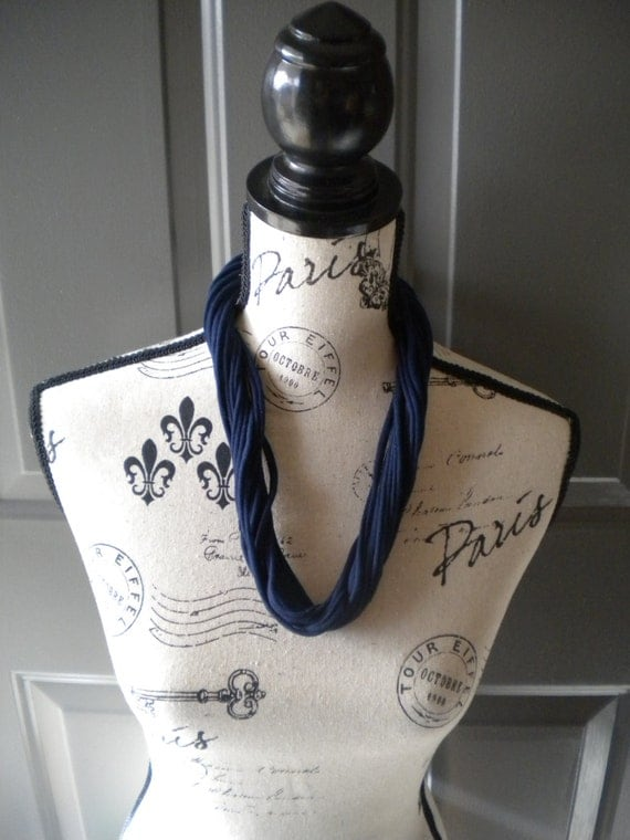 Jersey Scarf Necklace in Navy Blue