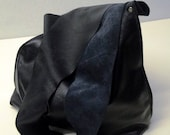 Shoulder Handbag Handmade In Navy Blue Leather