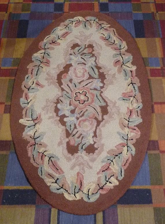 Vintage Priscilla Turner Hooked Rug Oval Wool 3 X 5