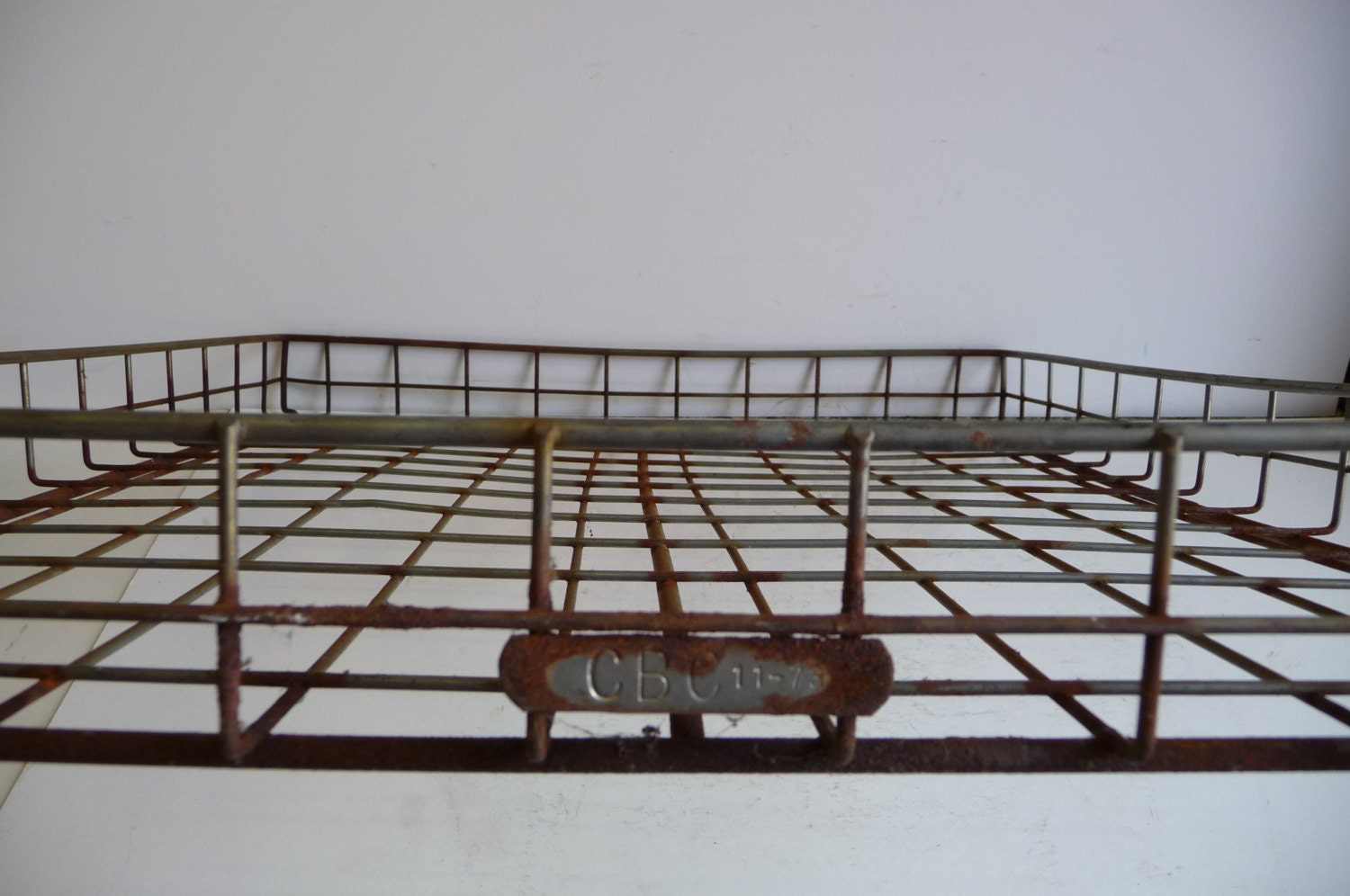 Vintage Wire basket Bakery tray Industrial size Cage metal