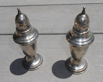 Vintage Sterling Silver Salt and Pepper Shakers in Colonia Style